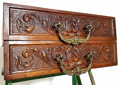 Carved Wood Drawer Matched Pair Devil Demon Bronze Handle Architectural Salvage