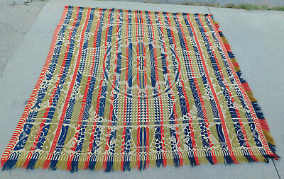 Antique American Centennial 1876 Wool Coverlet 4 Colors Eagles Jacquard