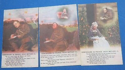 WW1 Bamforth Song Postcard x 3 SOMEWHERE IN FRANCE - Wrong Number  No 4895/1/2/3
