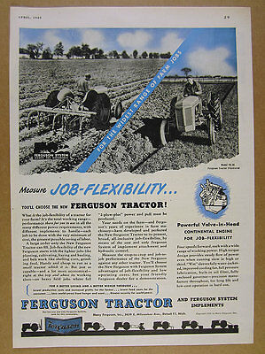 1949 Ferguson Model TO-20 TO20 Tractor plowing field photo vintage print Ad