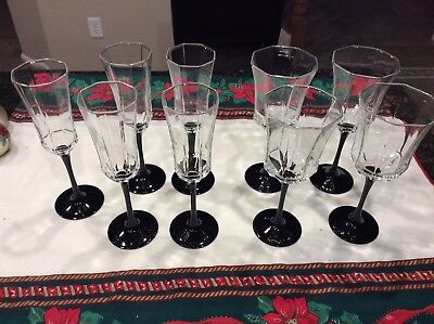 Luminarc Arcoroc France Wine Water Glasses Crystal Octagon 9 Black Stems