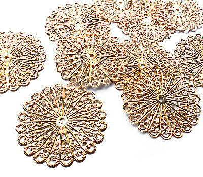 10 x Gold Plated Circle Filigree Stamped Embellishment Metal Charm Decoration
