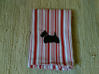Scottie Scotty Dog Embroidered Red Kitchen Towel Red/White Stripe