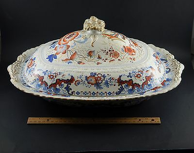 Large Antique English Japan Imari Ironstone Covered Tureen  Stevenson & Williams