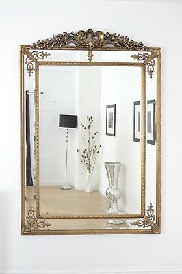 Large Wall Mirror Gold Ornate Gilt Vintage Mounted 6Ft4 X 4Ft6 193cm X 137cm