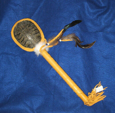 "Lg 17"" L Native American Turtle Shell Rattle Native American made Artifact  #02"