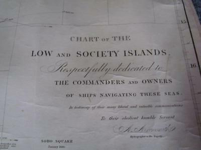 Antique 1830 Nautical Map Chart Of Low & Society Islands By A.arrowsmith