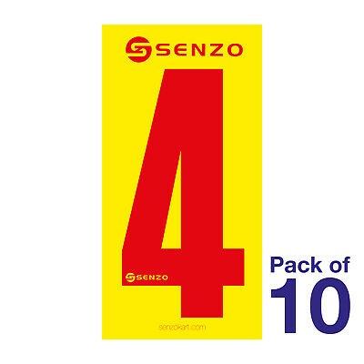 4 Number Pack of 10 Red on Yellow Senzo