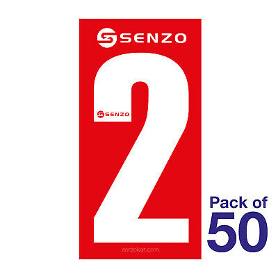 2 Number Pack of 50 White on Red Senzo