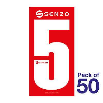 5 Number Pack of 50 White on Red Senzo