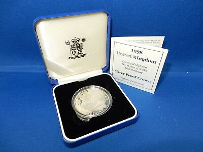 1998 UK 50th Birthday Prince of Whales Proof 925 Silver Crown Coin - 28.28g