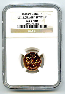 1978 Canada Cent Ngc Ms67 Rd Copper Uncirculated Set Issue Coin Pop=6 Rare