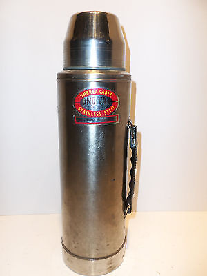 Vintage Unbreakable Uno-Vac Jumbo Stainless Steel Thermos Bottle 2 Quart 64oz