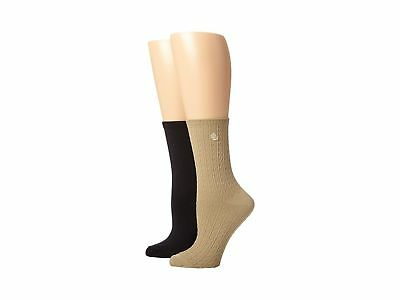 Women's Ralph Lauren Cable Trouser Socks Black Khaki 2 Pack Super Soft Supersoft