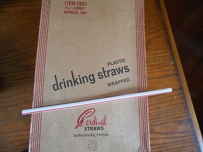 "Cardinal Box/500 STRAWS Paper Wrapped 2851 Plastic 7 3/4"" White w/ red stripe"