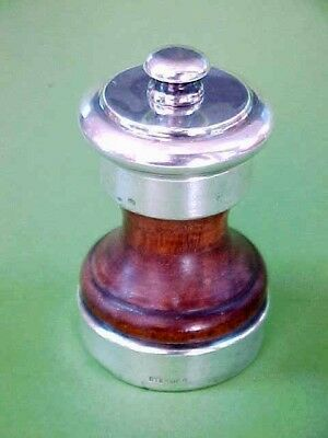 "Vintage Sterling Silver & Wood Pepper Grinder Mill 2.5"" Made In Italy"