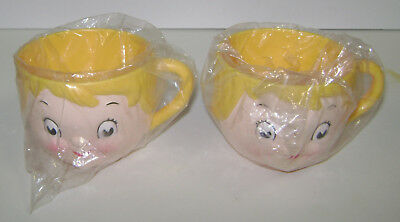 "2 Vintage Campbell's Soup Kids Face Cups 2 3/4"" Tall Plastic New"
