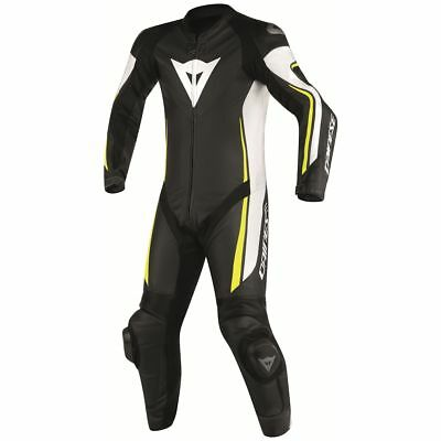 Dainese Assen Perforated 1-pc Suit Black/White/Fluo Yellow