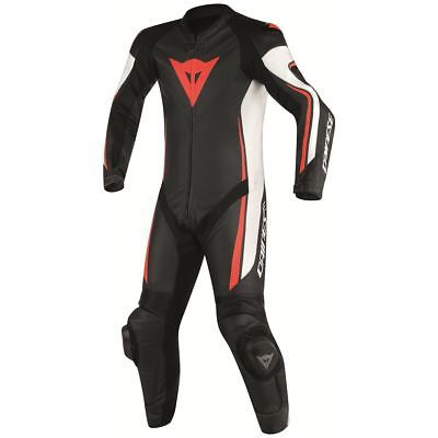 Dainese Assen Perforated 1-pc Suit Black/White/Fluo Red