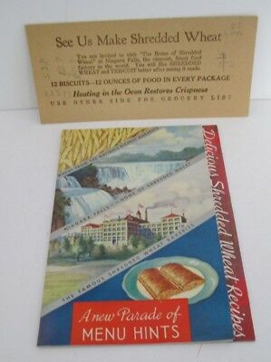 1935 SHREDDED WHEAT Recipe and Menu Hints Advertising Booklet Booklet, Illustrat