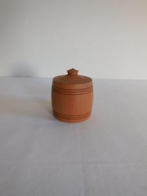 Pretty Vintage Wooden Pot Jar Jewelry Nic Nac Holder Dressing Table Desk Tidy