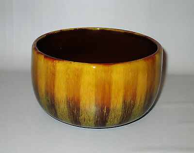 "Blue Mountain Pottery Round Planter Bowl Harvest Gold 6 1/2"" Vintage BMP Canada"