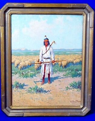 "William Meuttman (1869-1948) ""Indian Shepherd"" Oil on Canvas. Signed. 1912"