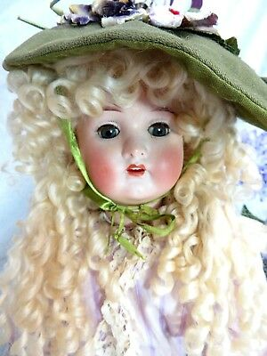 ANTIQUE German BISQUE head doll KLING Co composition body LAVENDER old DRESS 26""
