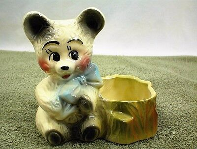 Small American Bisque Bear Planter Vintage Pottery
