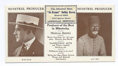 Original High-Brown Blackface Minstrel Ad Card Before & After, Kentucky