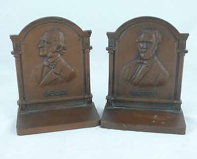 Ca. 1910-1920's BRADLEY & HUBBARD EMERSON & WHITTIER IRON POETS BOOK ENDS