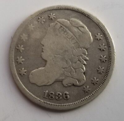 Circulated 1836 Capped Bust Silver Half Dime Grading Very Good G9757