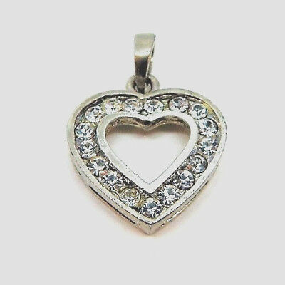 Sterling Silver .925 Crystals Heart Charm Pendant