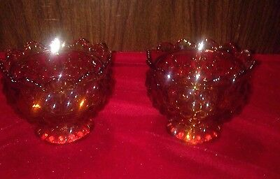 Amber Glass Set Of 2 Candle Holders Bead Glass Scalloped Lip Pedestal Vintage