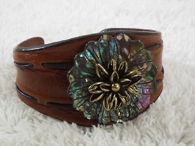 FOSSIL Leather Abalone Shell Flower Cuff Bracelet (B35)