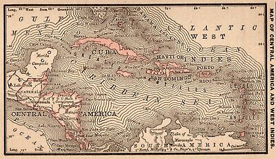 RARE Antique CARIBBEAN Map CENTRAL AMERICA Map 1888 RARE MINIATURE Map 4310