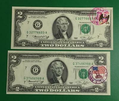 1976 $2 First Day issues Chicago Postmarked! Choice XF! Set of 2! Currency