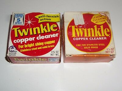 2 Vintage Containers of Twinkle Copper Cleaner with Boxes-1969 & 1973
