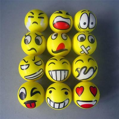 Lot 12 Pcs Emoji Smile Face Stress Relief Bouncy Squeeze Ball Toy Wholesale LD