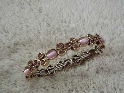 Goldtone Pink Cat's Eye Glass Rhinestone Bracelet (B35)