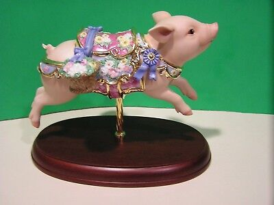LENOX BLUE RIBBON PIG CAROUSEL sculpture NEW in BOX with COA Horse Hog