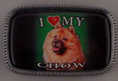 I Love My CHOW Antique Silver Belt Buckle USA MADE red