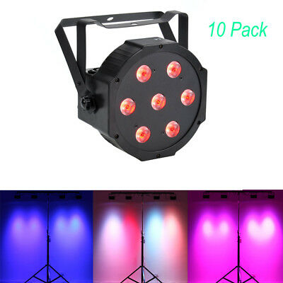 10 Pack 7x10W LED DJ Par Light 4in1 RGBW PAR DMX Disco Club Party Stage Lighting