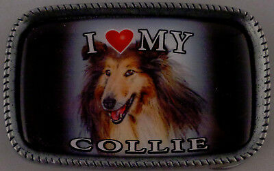 I Love My COLLIE Antique Silver Belt Buckle USA MADE