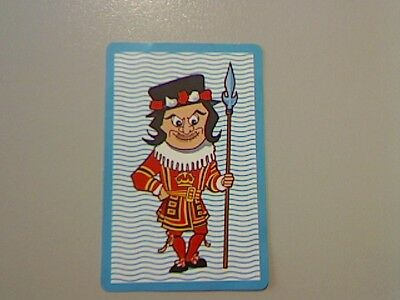 1 Single Swap/Playing Card -Wriggly Wavy/Criss Cross Blue Beefeater (Blank Back)