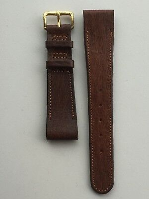 Watch Strap Leather Pigskin 19mm  Open Ended Brown British Hand made Fixed Bars