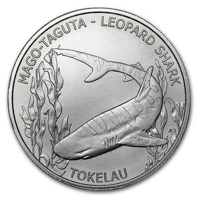 TOKELAU 5 Dollars Argent 1 Once Requin Leopard 2018