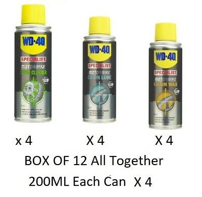 WD40 wd-40 Motorcycle Chain Wax, Chain Lube , Chain Cleaner 200ml - Box Of 12