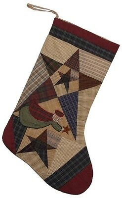 """Quilted Christmas Stocking Country Primitive Star W/ Angel No Tea Dye 18"""" L"""