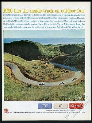 1961 Austin-Healey 3000 Sprite MG MGA red white blue 3 car photo print ad